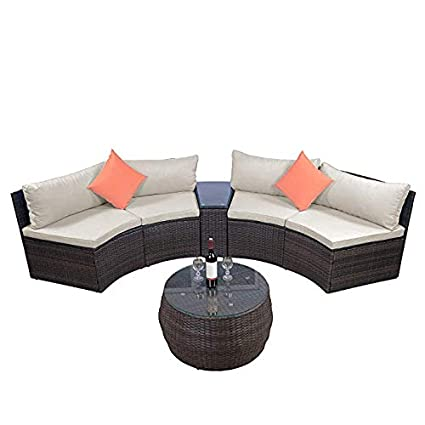 Wondrous Lz Leisure Zone 6 Piece Outdoor Patio Sofa Furniture Sets Half Moon Sectional Furniture Wicker Sofa Set With Two Pillows And Coffee Table Beige Cjindustries Chair Design For Home Cjindustriesco