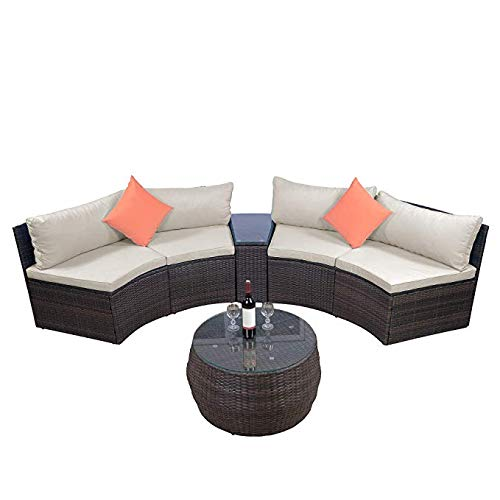LZ LEISURE ZONE 6-Piece Outdoor Patio Sofa Furniture Sets, Half-Moon Sectional Furniture Wicker Sofa Set with Two Pillows and Coffee Table (Beige) (Seating Patio Curved)