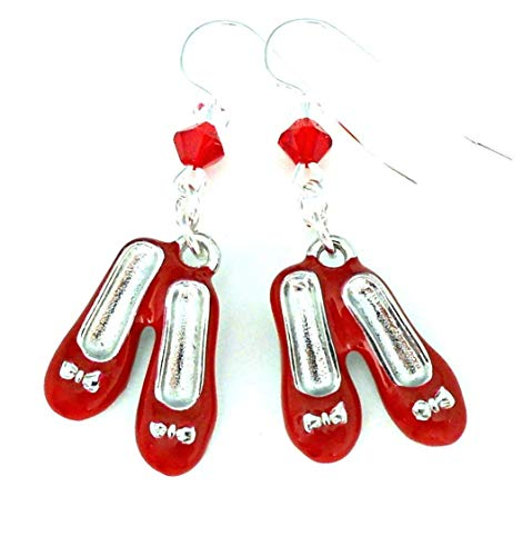 Shoes With Swarovski Crystals - Handmade ruby slippers earrings, Wizard of Oz Dorothy red shoes with Swarovski crystal