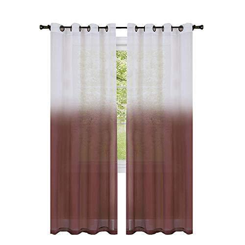GoodGram 2 Pack Semi Sheer Ombre Chic Grommet Curtain Panels - Assorted Colors (Burgundy) ()