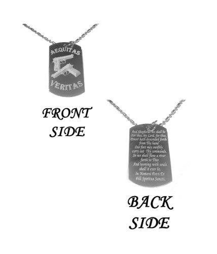 Hat Shark The Family Prayer Aequitas Veritas Saints Prayer Gun Double Sided Design Logo Symbol - Military Dog Tag, Luggage Tag Metal Chain Necklace