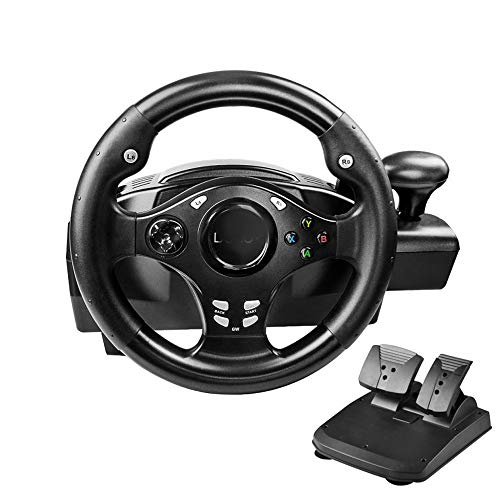 XFUNY Dual-Motor Racing Wheel, 270 Degree Rotation Steering Wheel for PS3 / PS4 / Xbox ONE/Xbox 360 / NS Switch/PC/Android, with Pedals, Gear Shifter Black (Black) (Gaming Chairs Xbox 360)