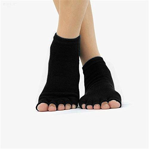 Hot selling Men and Women Pro Yoga Socks Five Fingers Antiskid Backless Five Toe Socks Yoga Sports Socks Fitness Massage color: black