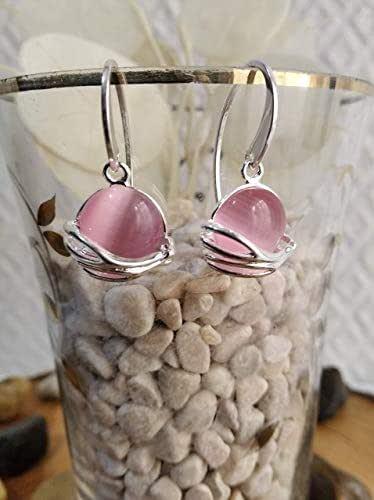 Pendiente de plata y piedra de ojo de gato en rosa