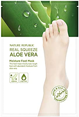 Nature Republic Real Squeeze Aloe Vera Moisture Foot Mask 16 ml / 0.54 fl. oz. (2 Sheets)