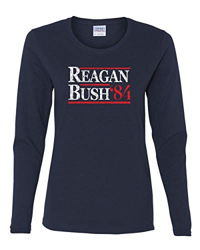 Reagan Bush '84 Women's Long Sleeve Tee Ronald American President History GOP Navy Blue -