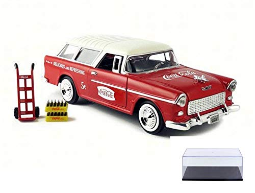 - Motor city classics Diecast Car & Display Case Package - 1955 Chevy Bel Air Nomad Wagon, Red w/ White Top 424110 - 1/24 Scale Diecast Model Toy Car w/Display Case