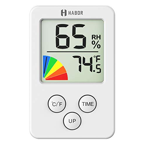 Habor Mini Indoor Thermometer Digital Hygrometer, Room Thermometer 12/24 Hour Time Clock, Temperature Humidity Monitor Home, Babyroom, Office, Greenhouse, Cellar, White (2.7 X 1.7 Inch)
