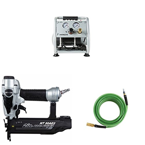 Hitachi EC28M Ultra Quiet Air Compressor, NT50AE2 Brad Nailer, and 50 Hose