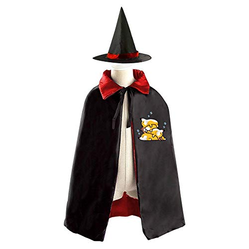 69PF-1 Halloween Cape Matching Witch Hat Sleeping Corgi Dog Wizard Cloak Masquerade Cosplay Custume Robe Kids/Boy/Girl Gift Red ()