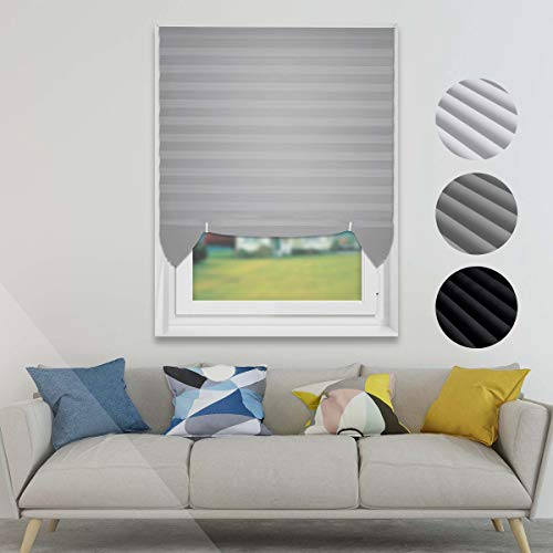 Temporary Blinds Cordless Pleated Shades and Blinds for Windows Light Filtering Fabric Blinds, Easy to Install and Cut, 3-Pack Grey, 36″x72″