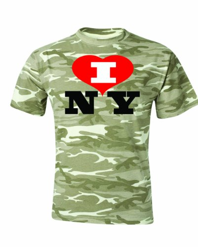 Men's I Love NY New York heart NYC Funny T-Shirt-Camo Sand-Small