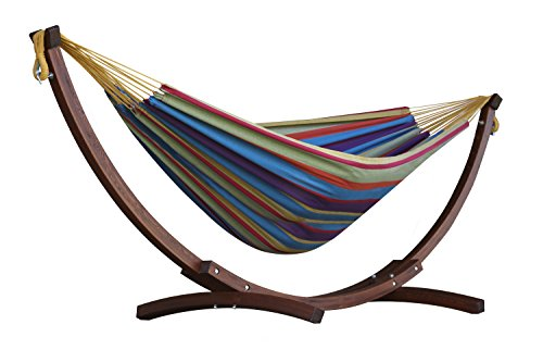 Double Cotton Hammock w/ Solid Pine Stand- Tropical (8 foot)