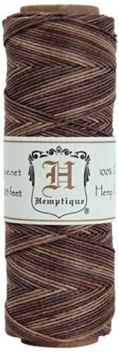 Hemptique 100% Natural Hemp Cord Single Spool - 205ft ~ 62.5m Hemp String Spool - Crafters Number 1 Choice - .5mm Cord Thread for Jewelry Making, Macram