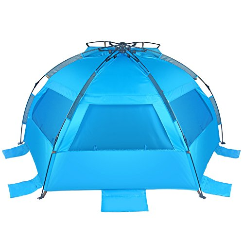 Tagvo Pop Up Beach Tent Sun Shelter Easy Set Up Tear Down, Portable Instant Beach Baby Canopy Lightweight 4.7 Pounds, UPF 50 Plus Sun Protection 3 Mesh Screen Windows Good Ventilation Sports Sun Shade