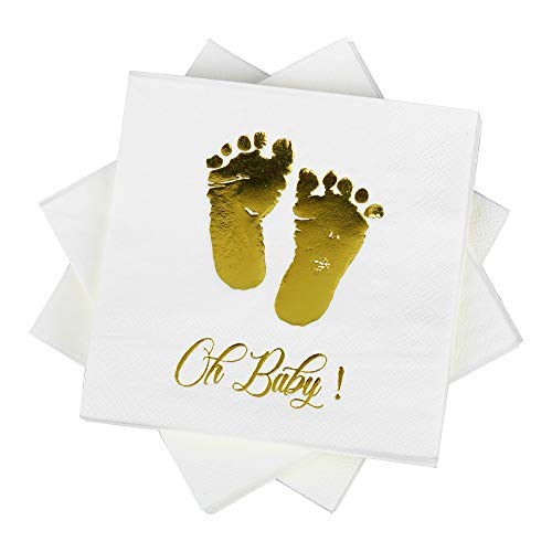 Oh Baby Cocktail Paper Napkins 5'' 100 counts 3-ply White and Gold Foil Baby Shower Didsposable Napkins Perfect for Birthday Baby Shower Party Supplies (oh baby 3-Ply)) ()