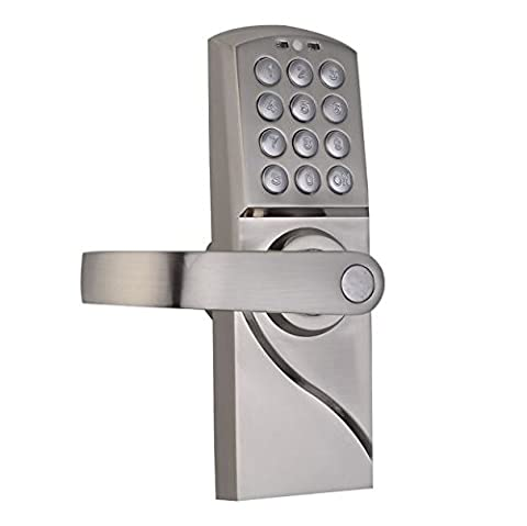 Left Handed Handle Digital Keyless Entry Door Lock Code Electronic Keypad Security Left Mechanical Combination Tag Home Office New Stainless Steel with Emergency Override - Double Cylinder Rim Device