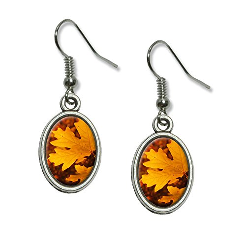 Gold Orange Leaves - Fall Autumn Colors Novelty Dangling Drop Oval Charm (Oval Fall Colors)