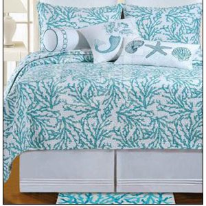 Amazon.com: Full / Queen Quilt - Cora Blue - Tropical Beach Coral ... : starfish quilt - Adamdwight.com