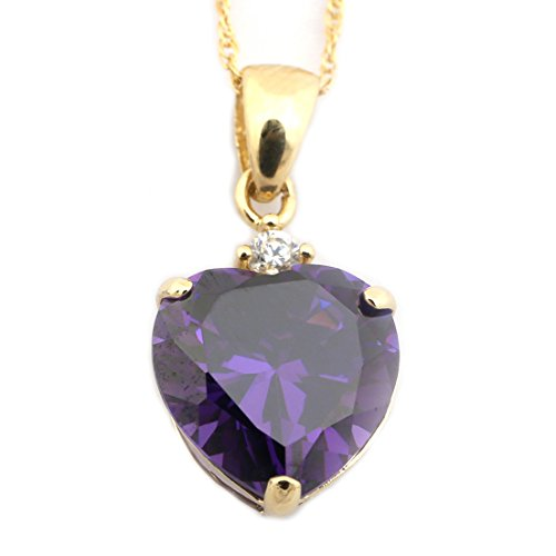 14k Yellow Gold Simulated Amethyst and Cubic Zirconia Heart Pendant Necklace - 16
