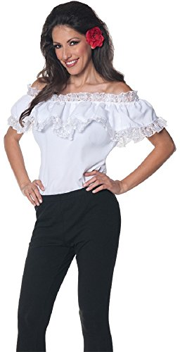 Underwraps Women's Senorita Blouse, White, X-Large (Girls Spanish Flamenco Dancer Costume)