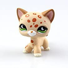Littlest Pet Shop Toys LPS Rare Standing Cat Mask Yellow Short Hair Kitten Cat Animal Figures Collection Kids Child Toys for kids gift 1pc