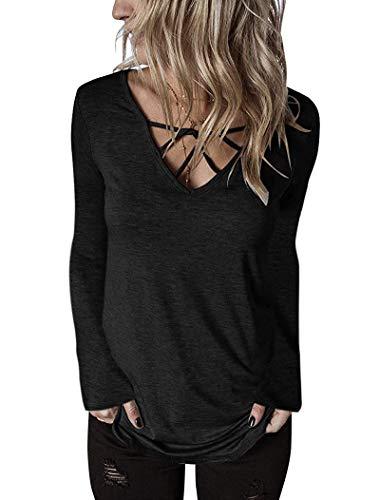 Women's Long Sleeve V Neck Criss Cross Loose T Shirt Tunics Tops Blouses Black Long, L