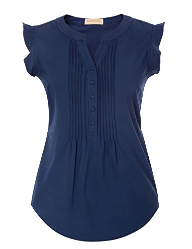 Kate Kasin Casual Chiffon Ruffled Cap Sleeve Blouse Tops for Women (S,Navy Blue)
