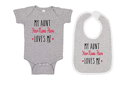 My Aunt Baby Clothes Custom Name Gifts Heather Bodysuit & Heather/White Bib Set 24 Months ()
