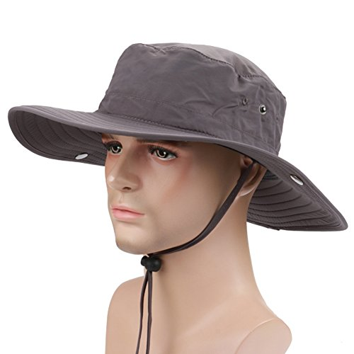 Tsptool Fishing Hats Wide Brim Caps Multifunctional Outdoor Cowboy Hat Quick-dry SUN UV Protection Bucket Hat for Fishing Camping Dark Grey