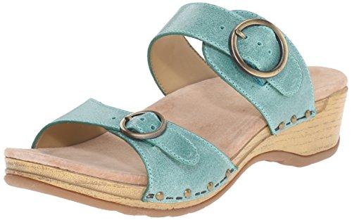 Dansko Women's Manda Slide Sandal, Mint Washed Leather, 37 EU/6.5-7 M US by Dansko