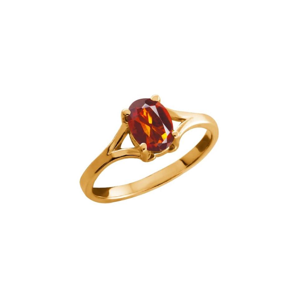 0.70 Ct Oval Orange Red Madeira Citrine 18k Yellow Gold Ring Jewelry
