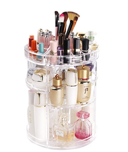 COOLBEAR Makeup Organizer,360 Degree Rotating Adjustable Acrylic Cosmetic Storage Display Case with 6 Layers Large Capacity, Fits Creams, Makeup Brushes, Lipsticks and More, Clear Transparent by COOLBEAR