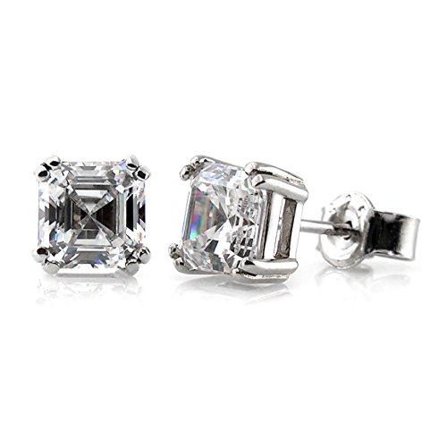 BERRICLE Rhodium Plated Sterling Silver Asscher Cut Cubic Zirconia CZ Solitaire Stud Earrings 5mm (Stud Asscher)