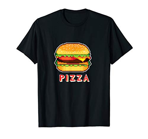 PIZZA  CHEESEBURGER 8 bit Pixel 80s Arcade Gamer Geek Outfit T-Shirt]()