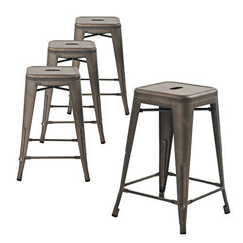 Buschman Counter High Tolix-Style Metal Bar Stools, Indoor/Outdoor, Stackable, 24