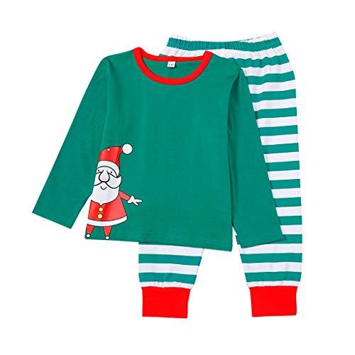 Family Matching Holiday Women Mom Printed Top+Stripe Pants Xmas Men Women Boy Girl Kids Christmas Family Nightwear Pajamas Set (S-XL)