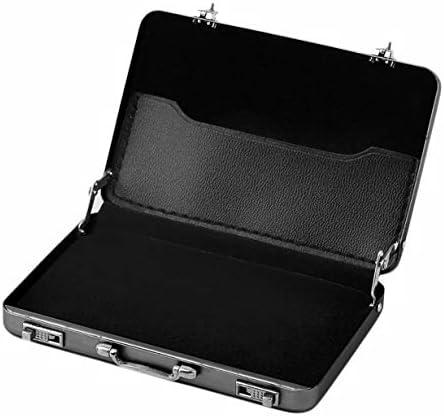 Durable Ankunft Mini-Aktenkoffer-Visitenkarte-Kasten Identifikation-Halter Passwort Aluminiumkreditkartenhalter 96 x 82 x 16mm (schwarz)