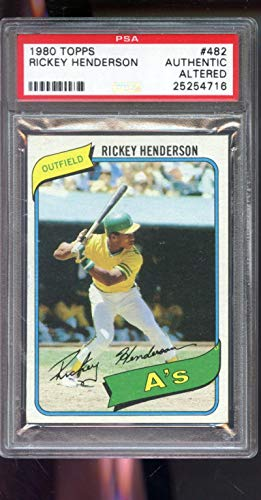 1980 Topps #484 Rickey Henderson ROOKIE RC A's PSA AUTHENTIC ALTERED Graded Baseball Card ()
