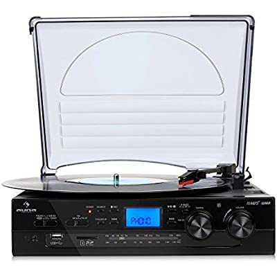 AUNA TT-186E Turntable Stereo  Record player  Needle from Audio Technica  hi-fi system  Belt drive  and RPM  Dust cover  Speakers  Radio  USB  bass boost  Remote control  black