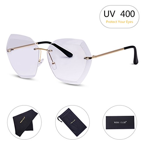 WISH CLUB Oversized Fashion Rimless Sunglasses for Women Hexagonal Flat Lens Frameless Rimmed Eyewear for Girls UV Transparent Glasses(White) - Sunglasses White Personalized