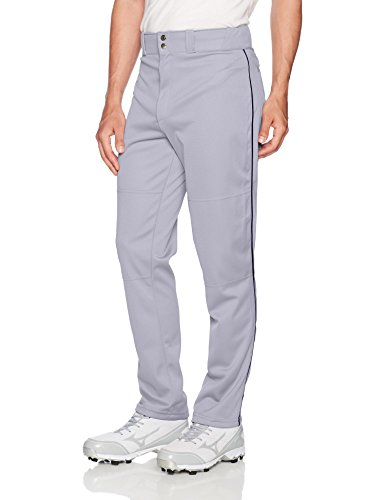Wilson Men's Classic Relaxed Fit Piped Baseball Pant, Grey/Navy, - Jersey Softball Piping