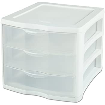 Sterilite 17918004 3 Drawer Unit, White Frame With Clear Drawers, 4 Pack