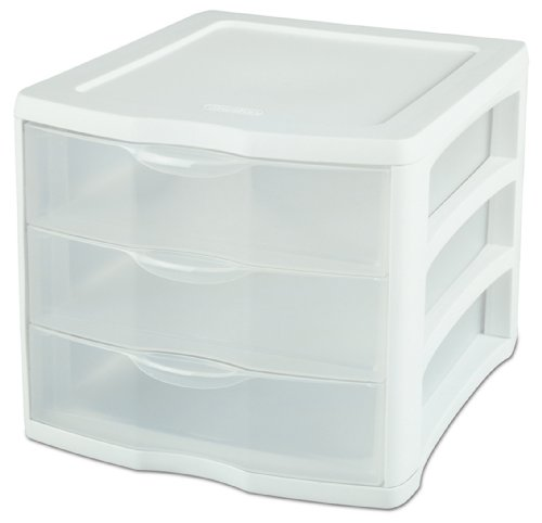Sterilite 17918004 3 Drawer Unit, White Frame with Clear Drawers, 4-Pack (Storage Drawers Sterilite)