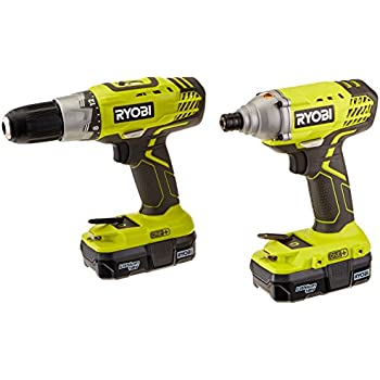 ryobi p882 one+ 18v lithium-ion drill and impact driver kit - power ...