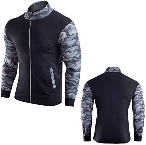 フィットネスを実行するための屋外迷彩半袖フィットネスコートとジャケット、クイックドライジャケットパーカーコートを実行している男性,B,2XL