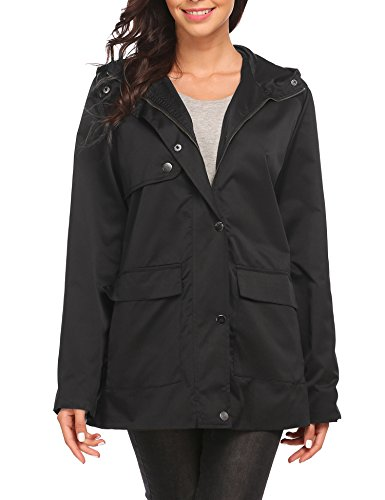 OD'lover Women's Zip Up Military Lightweight Anorak Hoodie Jacket with (Hoodie Trench)