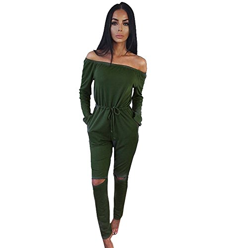 ALAIX Women's off-Shoulder Bodycon Knee Hole Pants Party Club Jumpsuits Rompers-Green-M (Sexiest Plus Size Outfits)