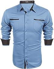 COOFANDY Herenhemd met lange mouwen, regular fit, basic vrijetijdshemd, gemakkelijk te strijken, herenoverhemden, kentkraag, borstzak, business overhemden voor mannen