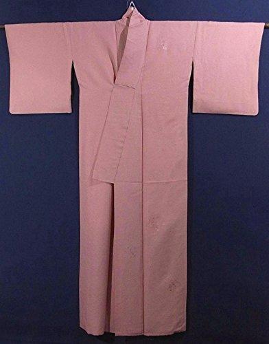 リサイクル 着物  付下色無地 刺繍 扇文 正絹 袷 裄68cm 身丈165cm